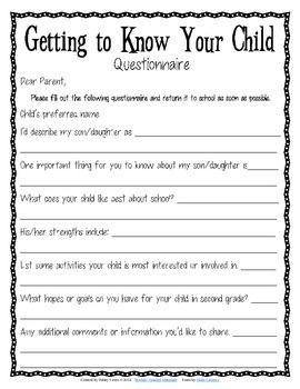 Free Getting To Know Your Child Questionnaire For Parents