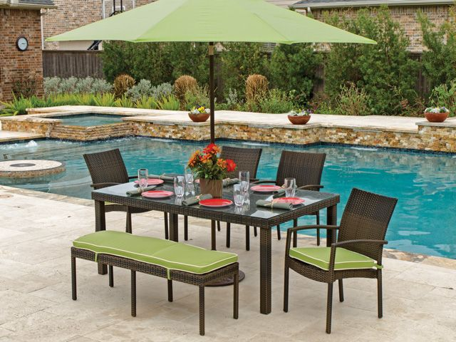 Havana 6 Pc Woven Resin Wicker Dining Set With 72 X 42
