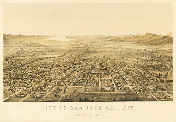 Vintage Map - San Jose, California 1875 | Products | San jose ...