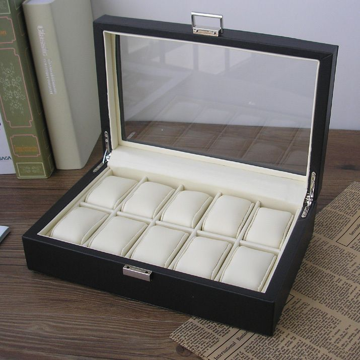 Wood Structure PU Leather Watch Storage Box Display Case With Jewelry Box  Transparent Glass Lid Black 2149