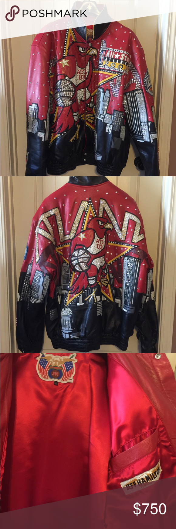 Vintage Chicago Bulls Nba Jordan Era Leather Jacket j.h. Jeff Hamilton Large Products Hot Sale