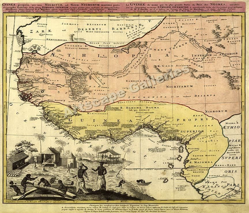 1743 west african old world map guinea ethiopia 20x24 vintage 1743 west african old world map guinea ethiopia 20x24 vintage gumiabroncs Images