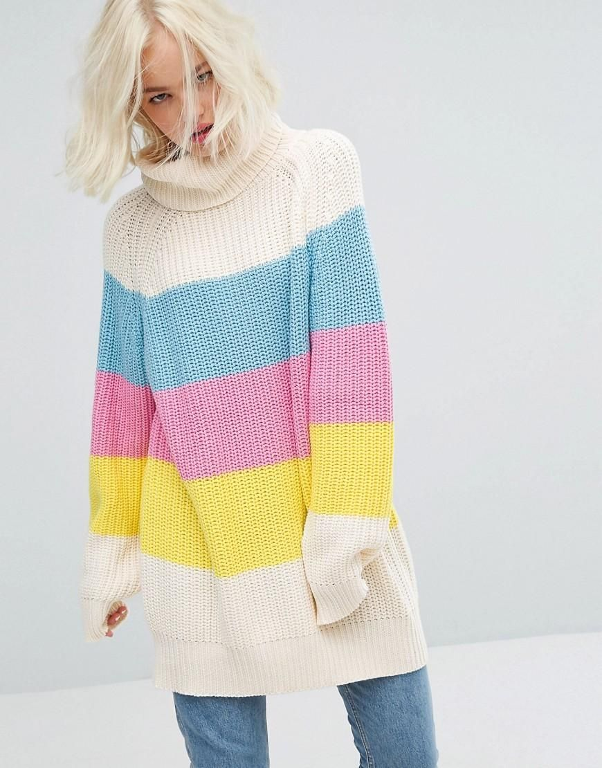Lazy Oaf Oversized Roll Neck Knitted Jumper With Sorbet Panels ...