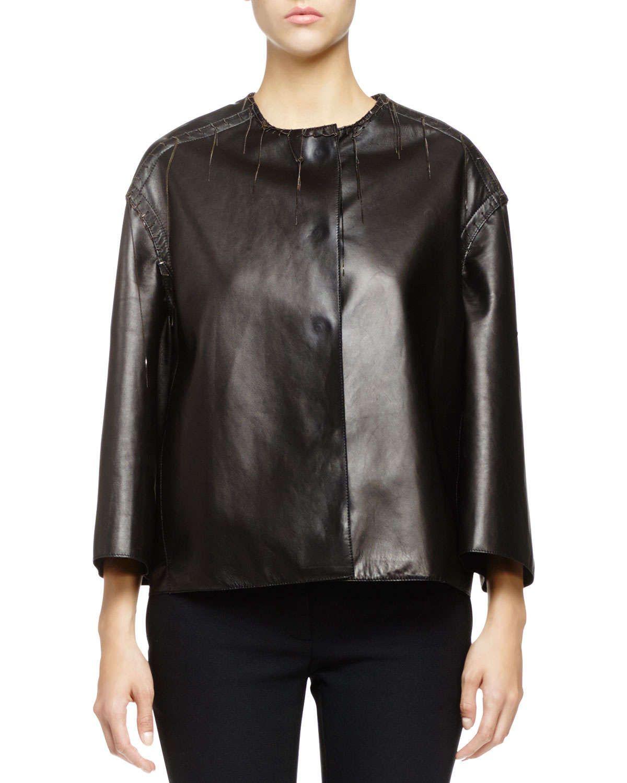 Hanging-Stitch Chain-Trim Leather Jacket