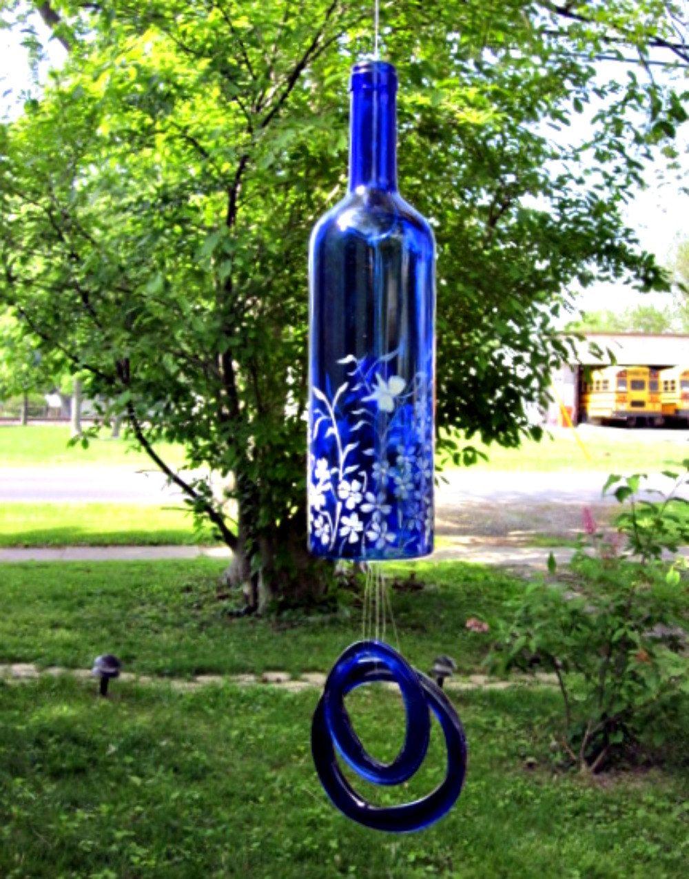 Wine bottle crafts outdoor - Recycled Blue Wine Bottle Garden Wind Chimes Bell Style Garden In White
