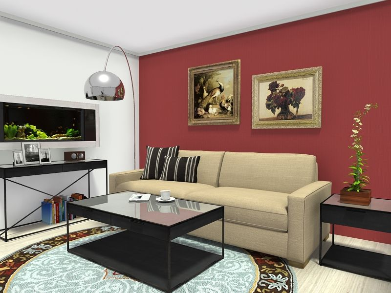 pier 1 living room rugs%0A  D floor plan for living room with beige sofa  throw pillows  dark red  painted