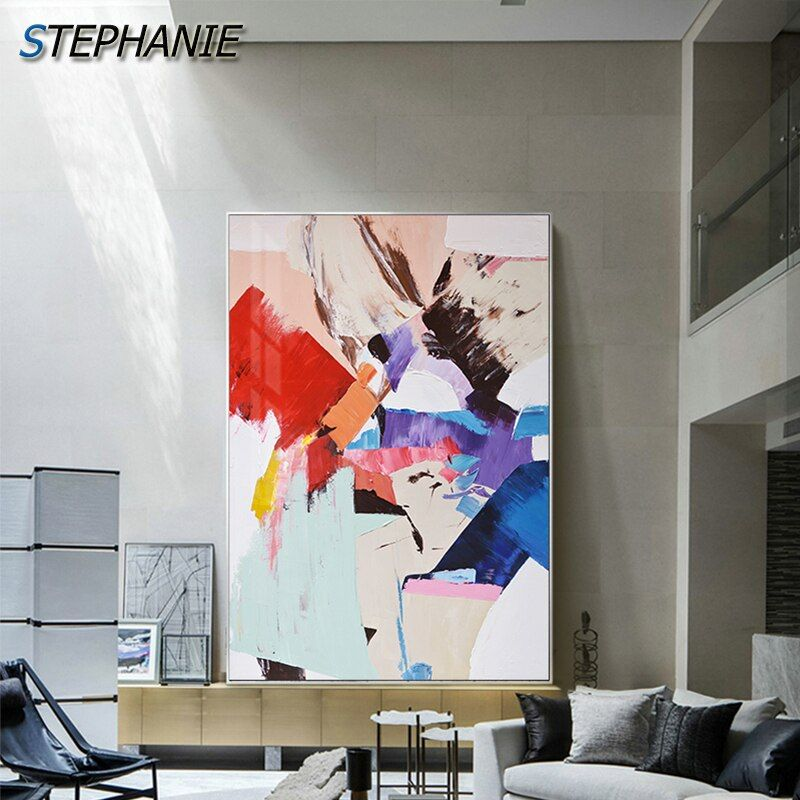 Abstract Fashion Blue Canvas Painting Orange Red Posters Modern Wall Art Pictures For Living Room Color Block Prints Home Decor In 2020 Colorful Canvas Art Canvas Art Wall Decor Wall Art Pictures #red #living #room #wall #art