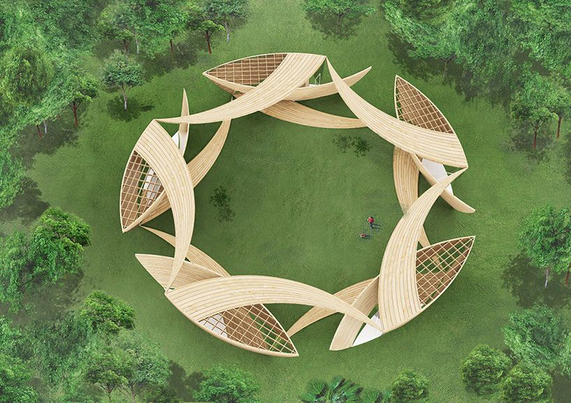 timber ribbons encircle the quezon day center by yuusuke karasawa architects