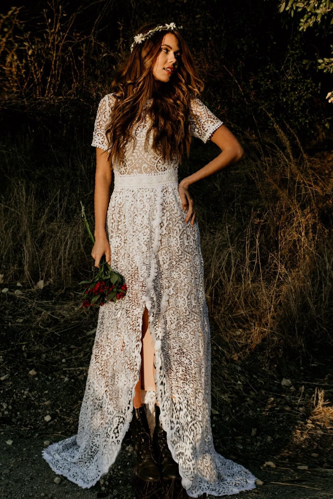 Crochet Lace Short Sleeve High Low Skirt Wedding Maxi Dress Etsy Crochet Lace Dress Bohemian Wedding Dress Lace Lace Dress [ 1709 x 1140 Pixel ]