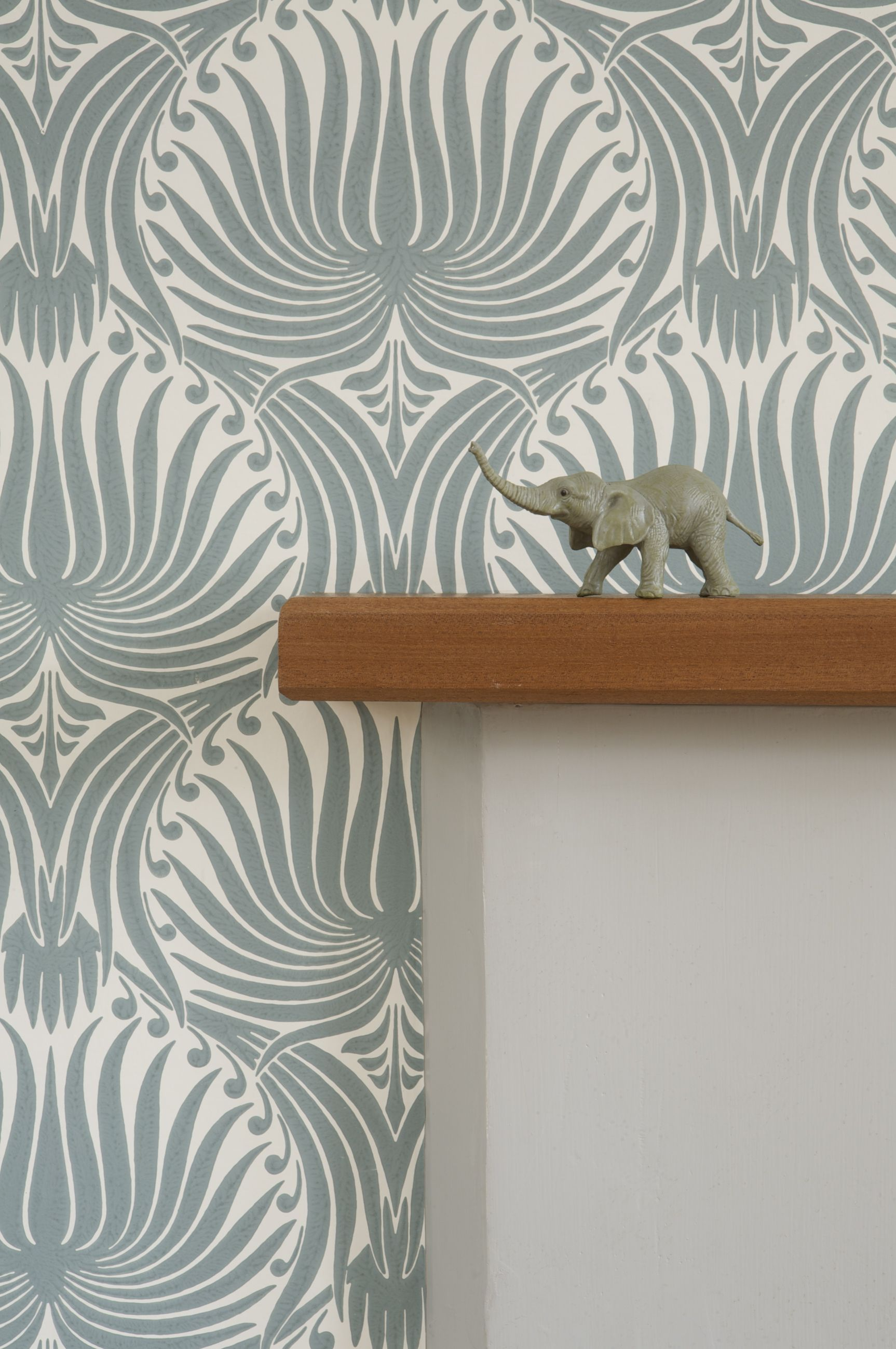 Farrow & Ball Lotus BP2054 wallpaper with Pavilion Gray fire surround