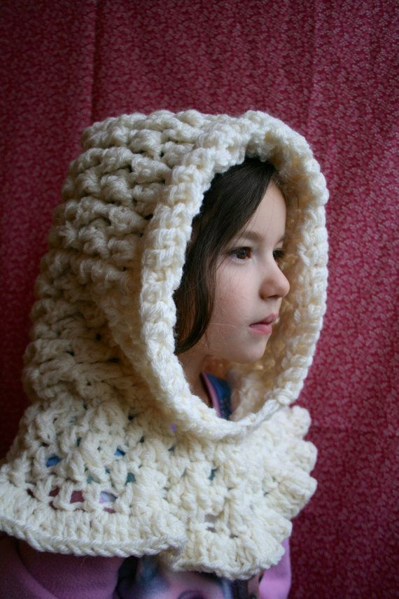 Crochet pattern, ruffle hooded cowl crochet pattern, hooded scarf ...