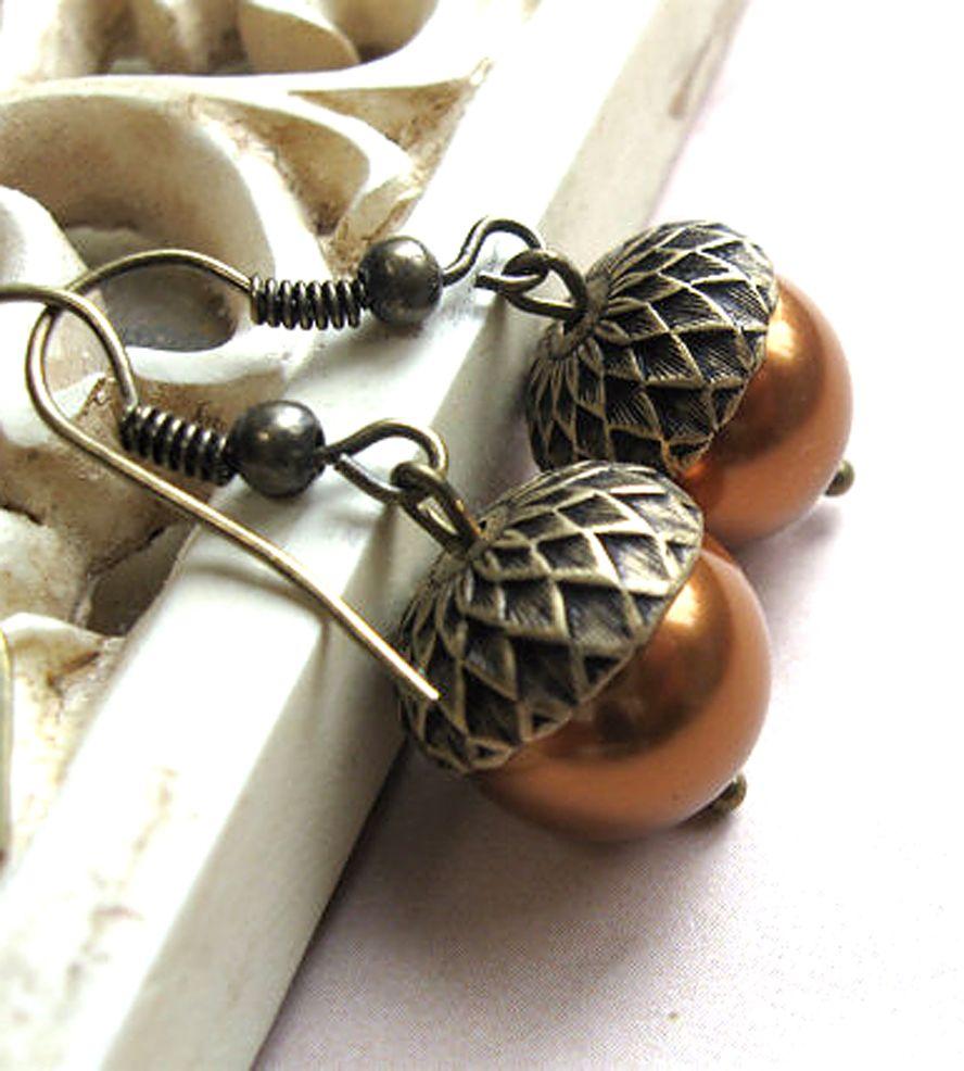 brass acorn earrings jewelry earrings botanical bird autumn pinterest uhren und schmuck. Black Bedroom Furniture Sets. Home Design Ideas