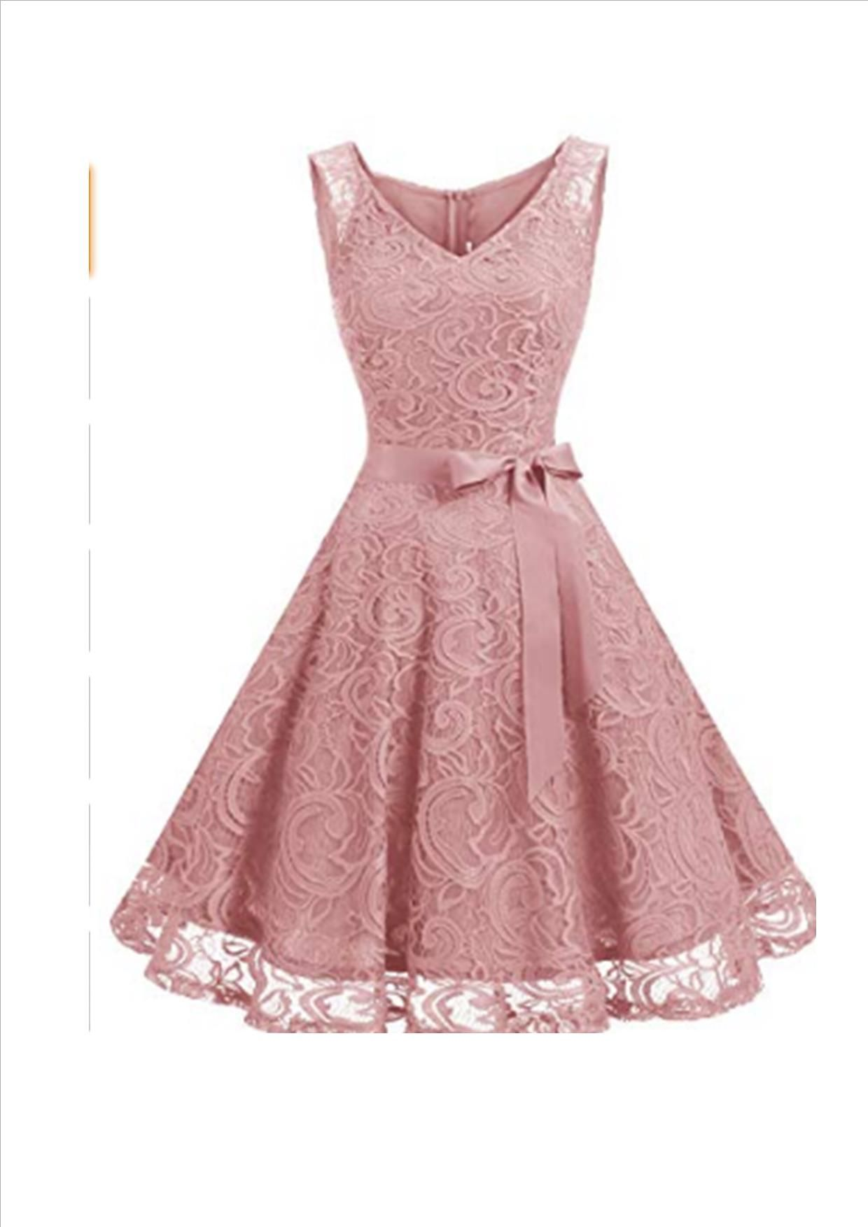 Dressystar Womens V Neck Floral Lace Bridesmaid Dress Prom Party Dress Flutter Sleeve