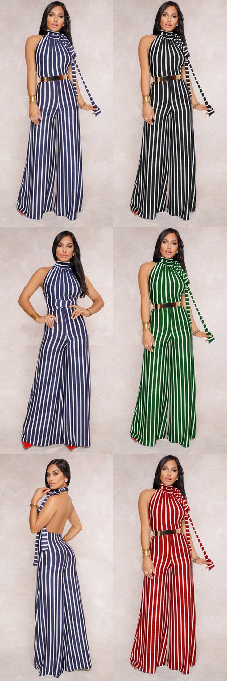 fc80be849 Compre Macacão Longo Pantalona Listrado Festa Costas de Amarrar - Preto   Vermelho  Azul Escuro  Verde