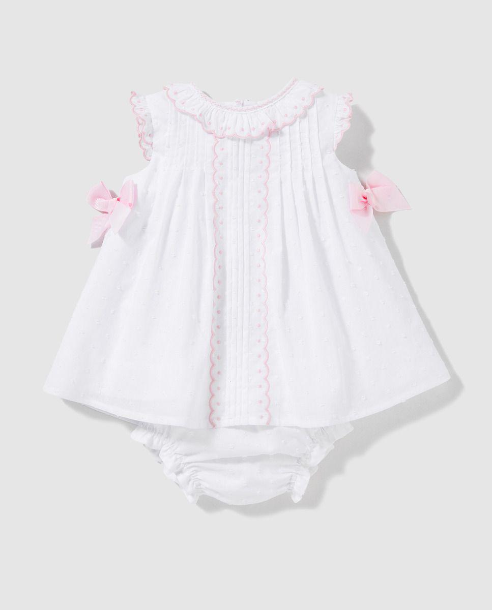 Vestido plumeti de bebé niña Dulces en blanco  e30f949da69