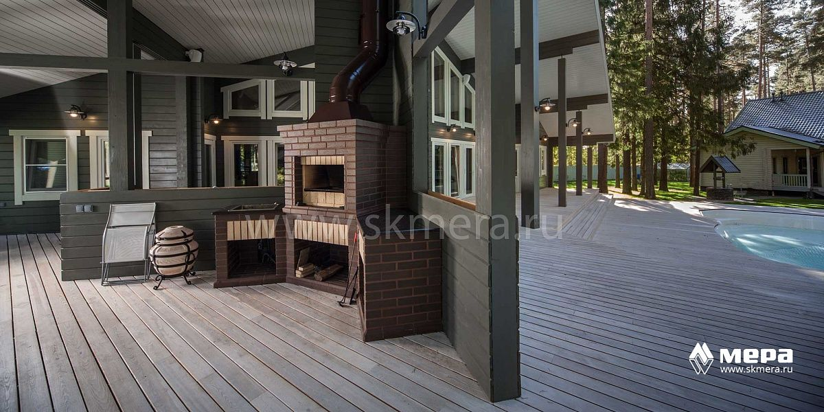 Фасады бани: Галерея усадьбы из клееного бруса в Зеленогорске №2