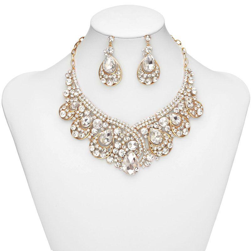 WEDDING JEWELRY | Home Jewelry Sets Teardrop Bridal Jewelry, Crystal ...