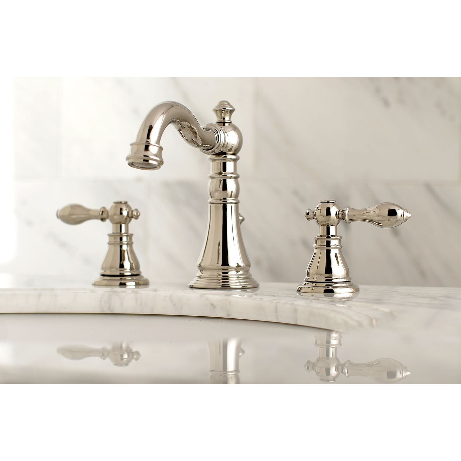 Kingston Brass American Classic Widespread Bathroom Faucet With Drain Polished Nickel Widespread Bathroom Faucet Bathroom Faucets Sink Faucets [ 1500 x 1500 Pixel ]