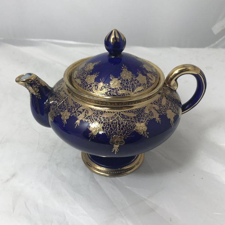 Nippon Victorian Cobalt Blue & Gold Porcelain Tea Set - 5 Piece Set #teasets