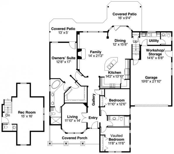River Glen 30 223 Craftsman Home Plan Floor Plan