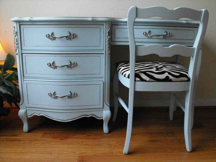 French Provincial Bed Set Painted Light Turquoise Love The Color We Did A Desk Very Similar To This For My Daughter In Cream Tone And Even Used Zebra