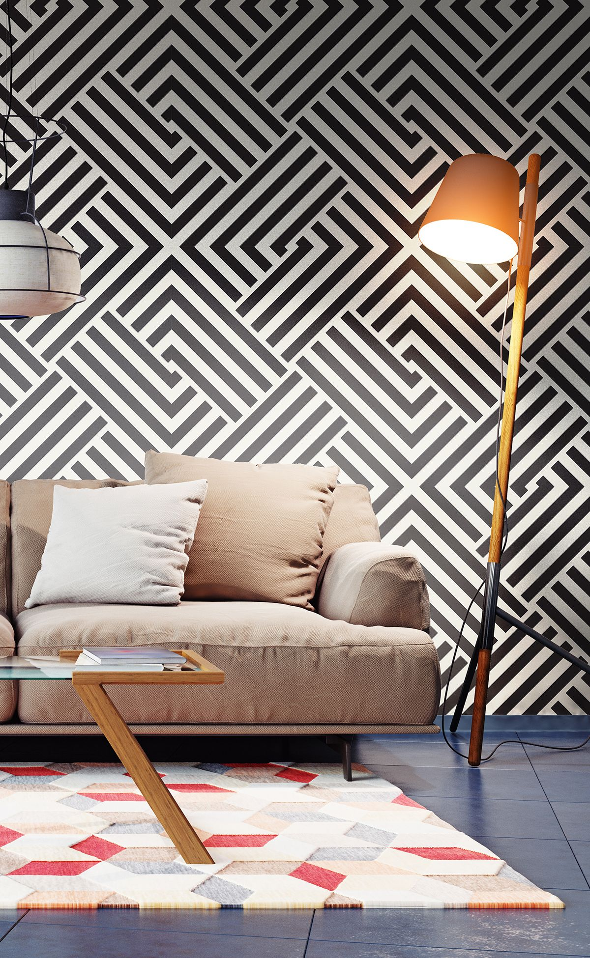 Black And White Cross Fabric Removable Wallpaper 5497 In