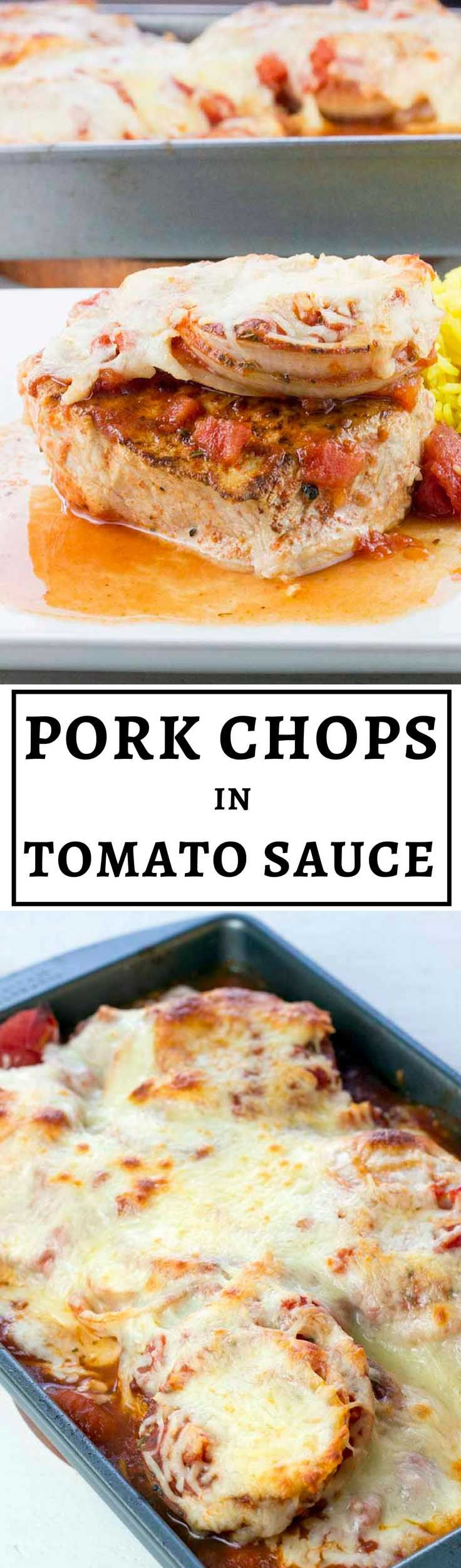 Baked Boneless Pork Chops in Tomato Sauce These pork chops are tender, juicy, and bursting with flavor! Baked Boneless Pork Chops in Tomato Sauce is a high-protein recipe you'll find yourself making over and over again. It's also gluten-free and low carb.
