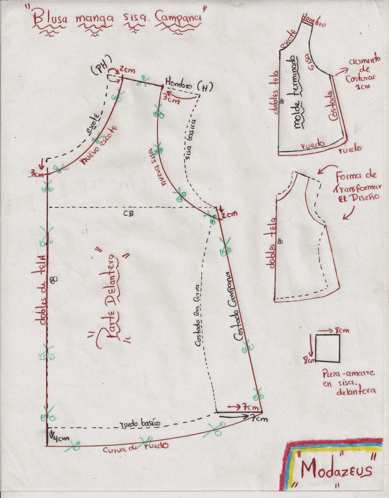molde delantero de blusas para niñas | Costura | Pinterest | Costura ...