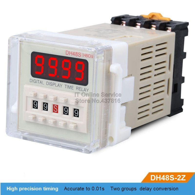 Dh48s 2z 220v 12v 24v Led Digital Display Time Relay Two Groups Delay Buy One Get One Base Pedestal Affiliate Digital Alarm Clock Digital Display