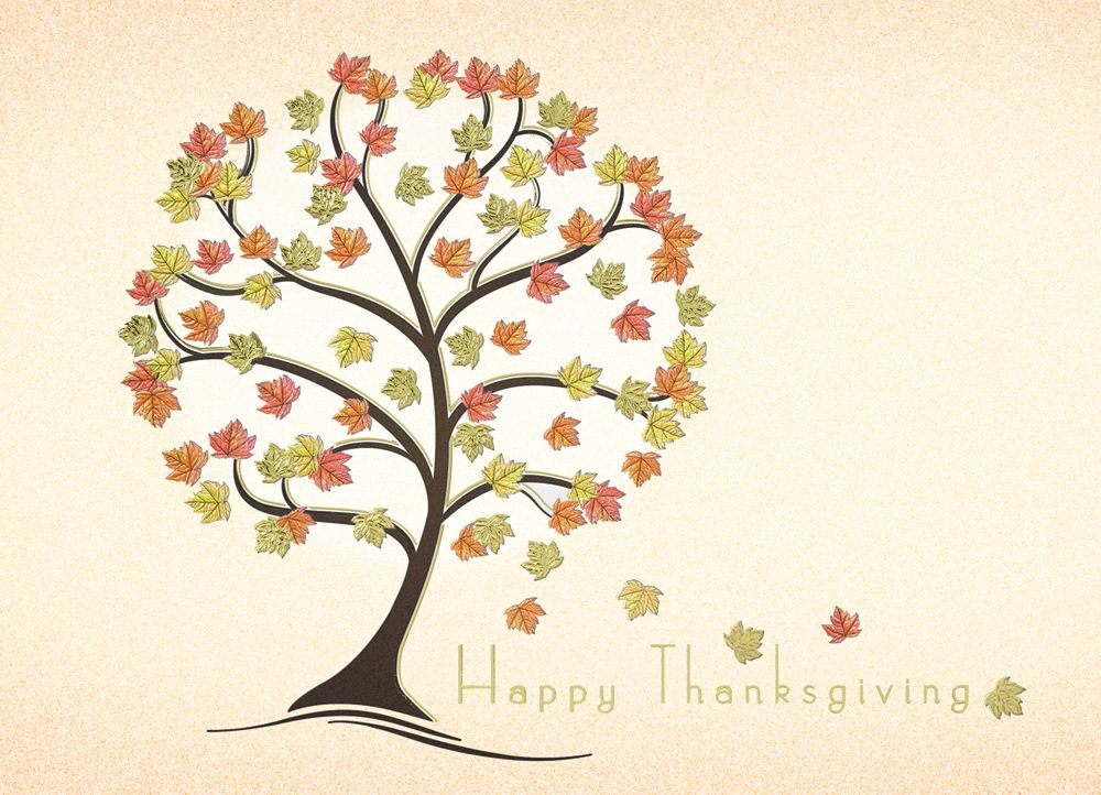 Funky Fall Tree Thanksgiving Cards - LaCasa Printing. Wish a Happy ...