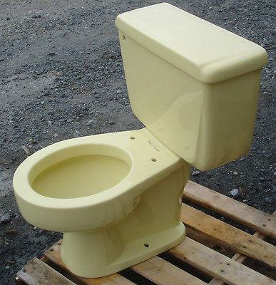 Vintage 1965 Saffron Yellow Toilet By American Standard Complete