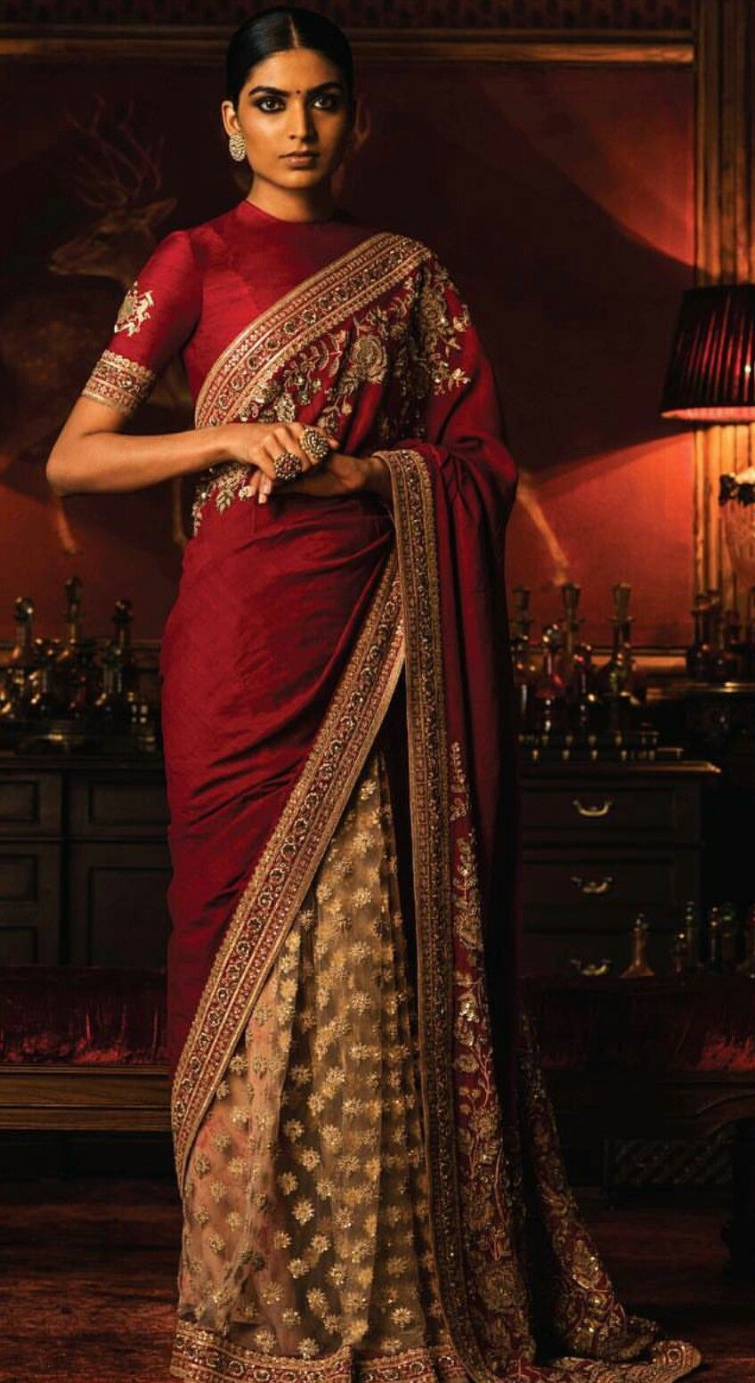 9230ce4549 Saree for phera. Same maroon combination with dull gold. Double material.  No to blouse. Sabya blouse are very tricky.