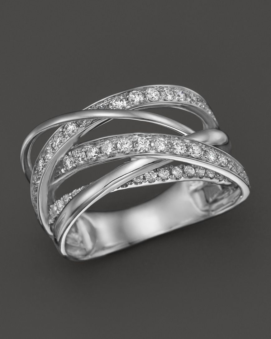 Bloomingdale S Diamond Multirow Crossover Ring In 14k White Gold 1 15 Ct T W Jewelry Accessories Fine Jewelry Rings Bloomingdale S Buy Diamond Ring Crossover Ring Fine Diamond Jewelry