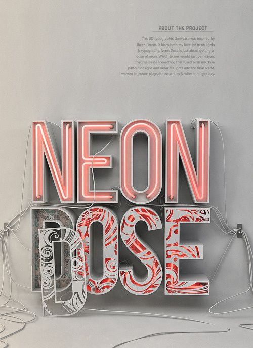 A little dose of neon by Katlego Phatlane in Typography #3dtypography
