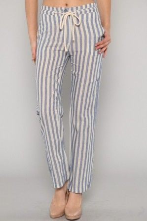 Straight Striped Blue Pants