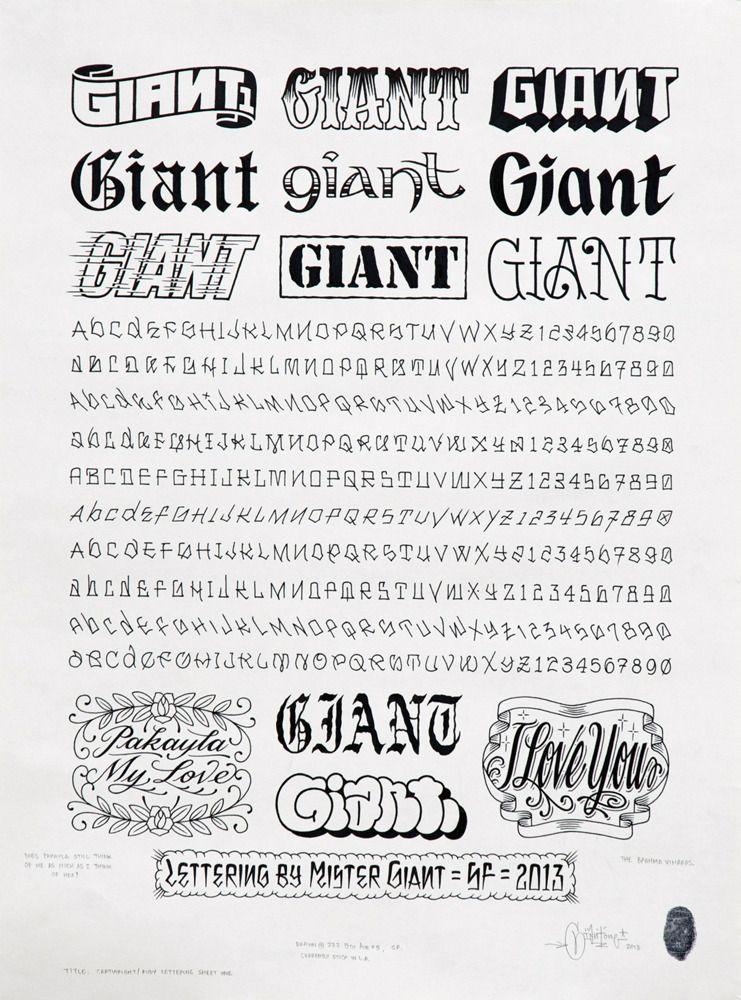"ORIGINAL GIANT CONTENT — ""Lettering Sheet 1″, 2013"