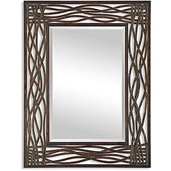 Uttermost Dorigrass Distressed Mocha Rustic Metal Framed Mirror By