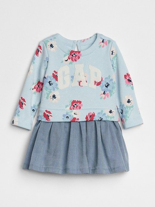 Gap Baby Logo Mix-Fabric Dress Poolside Blue | Products | Pinterest