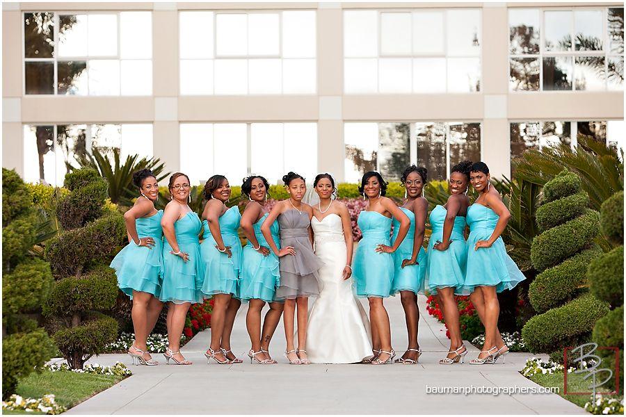 Bright Aqua Turquoise And Grey Wedding Bridesmaids Colors Bauman Photography