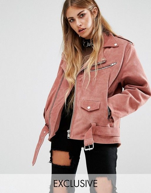 Reclaimed Vintage - Perfecto en daim rose oversized   Mode - Style    Pinterest   Fashion online, Rose and Vintage eeb81a46fa63