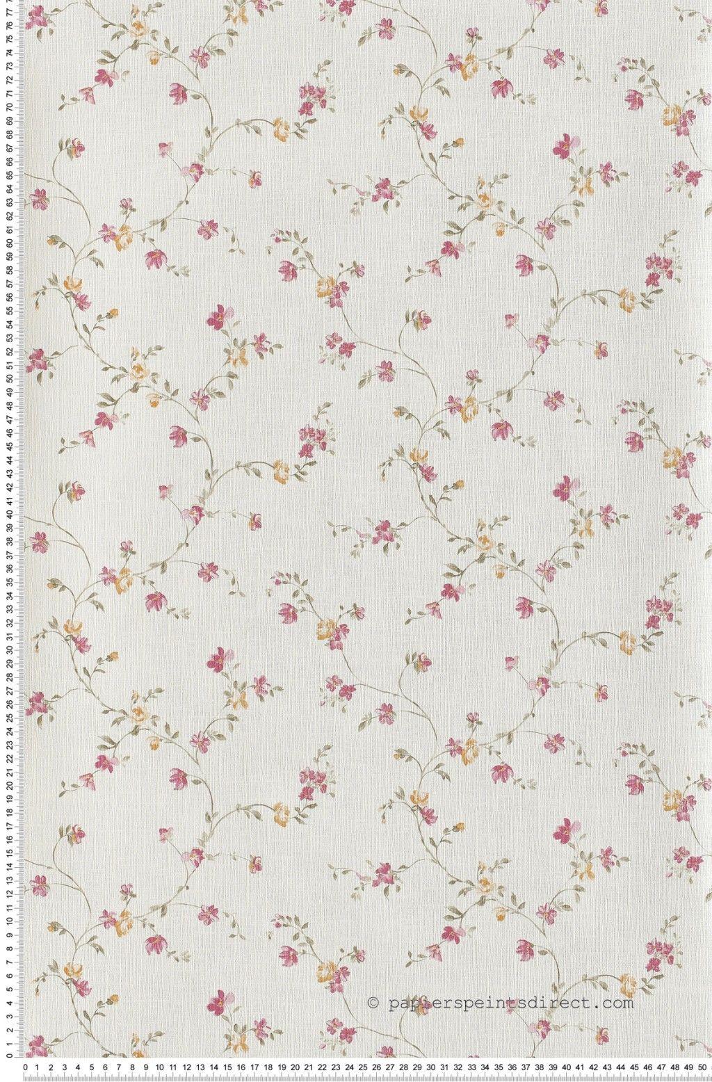 Papier Peint Petites Fleurs #6: Papier Peint Fleurette Rose Et Orange Butterfl Casélio : Papier Peint  Chambre, Pièce à Vivre