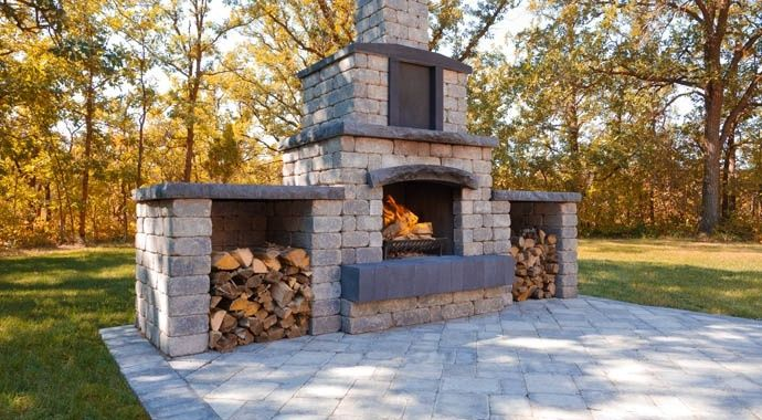 Stone oasis collection outdoor fireplace kit barkman for Precast concrete outdoor fireplace kits