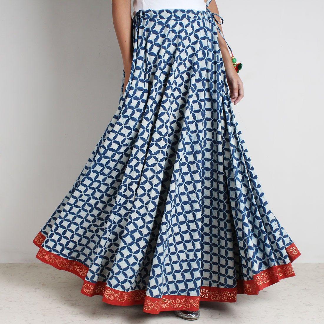 d20dfd6a62db7c Cotton Cambric Indigo Rogan Gold Hand Block Print Skirt With Tassles ...