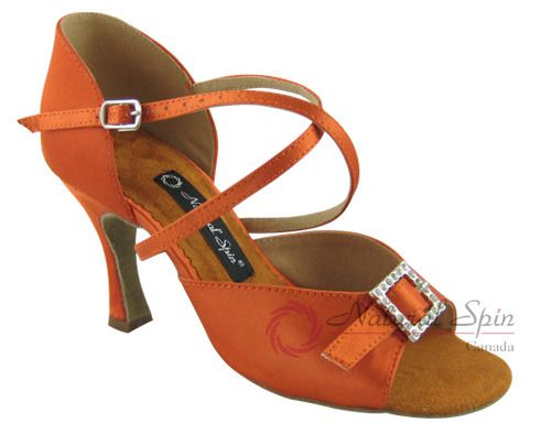 Natural Spin Latin Shoes(Open Toe, Adjustable):  M1112-02_DrBrown1CS