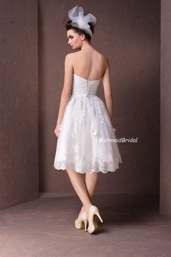 Lace applique Tea length Beach wedding dress by MermaidBridal