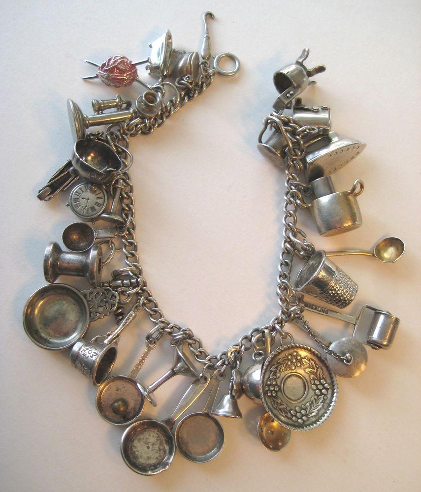 Sterling charm bracelet 1940/'s