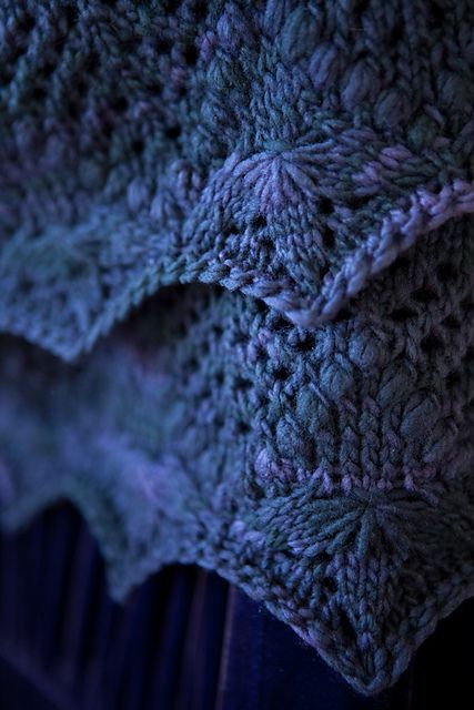 Echo Flower Shawl by Jenny Johnson Johnen. malabrigo Worsted, Paris Night colorway.