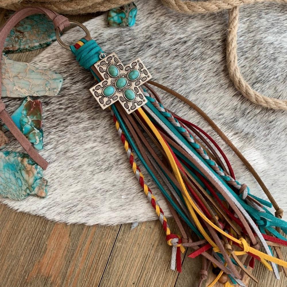 Burgundy Turquoise Wood Beaded Gold Feather Fringe Tassel Statement Necklace