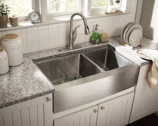 Zuhne 33 Inch Farmhouse Apron 60 40 Deep Double Bowl 16 Gauge Stainless Steel Apron Front Kitchen Sink Farmhouse Sink Kitchen Stainless Steel Kitchen Sink