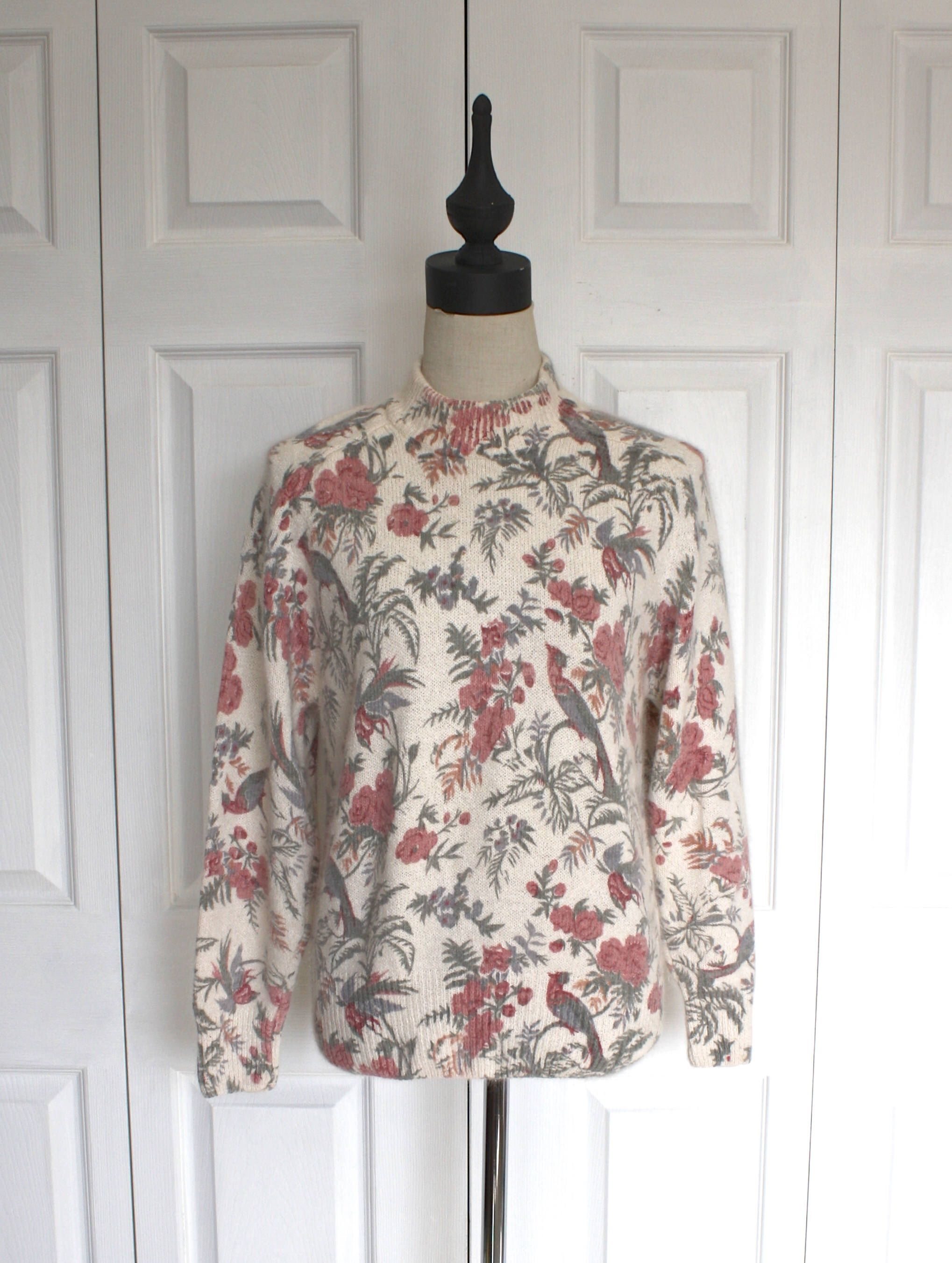 84c500d79c842 Vintage SILK ANGORA Sweater . 1980s 90s Ivory Floral Turtleneck Pullover  Sweater Jumper . Size Large or Oversize Medium